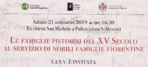 Le famiglie pistoiesi del XV secolo al servizio di nobili famiglie fiorentine @ Ex chiesa di San Michele a Pulica